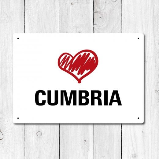 Wall Chimp Love Cumbria Metal Sign
