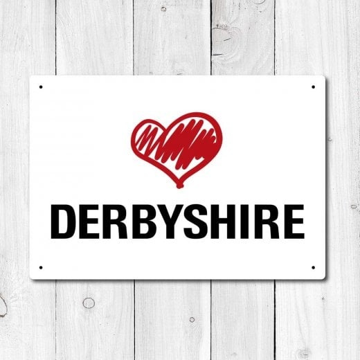 Wall Chimp Love Derbyshire Metal Sign