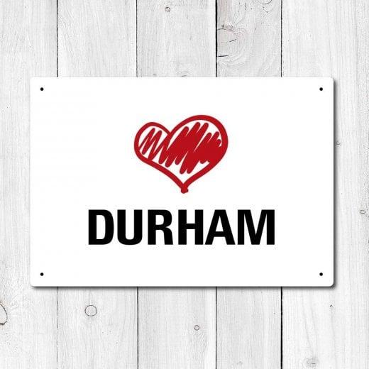 Wall Chimp Love Durham Metal Sign