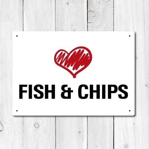 Wall Chimp Love Fish & Chips Metal Sign