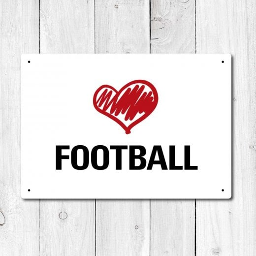 Wall Chimp Love Football Metal Sign