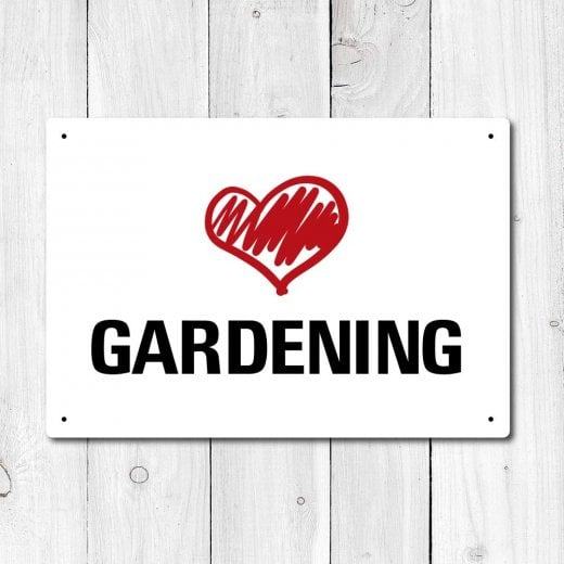Wall Chimp Love Gardening Metal Sign