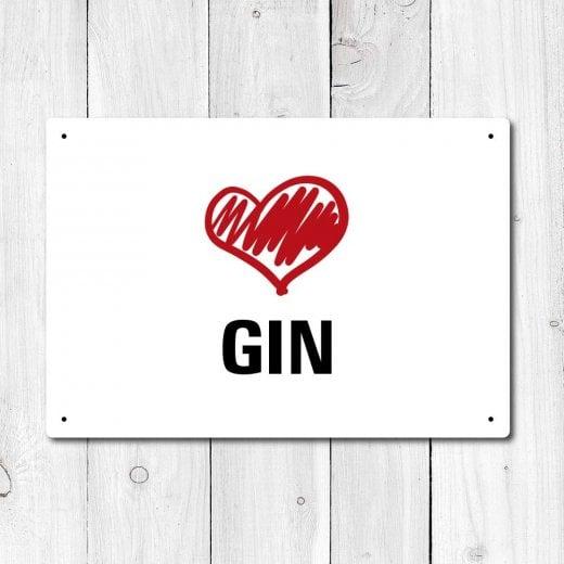 Wall Chimp Love Gin Metal Sign