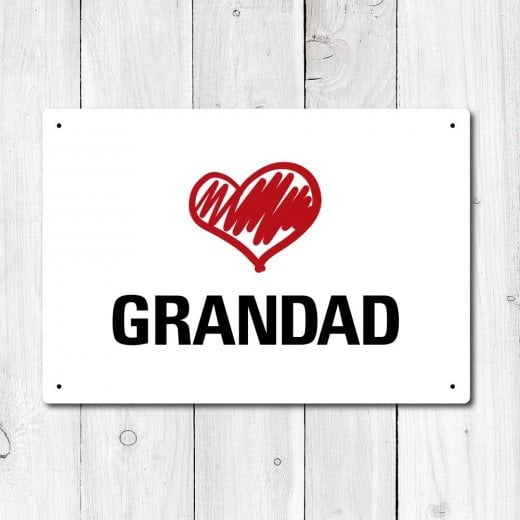 Wall Chimp Love Grandad Metal Sign