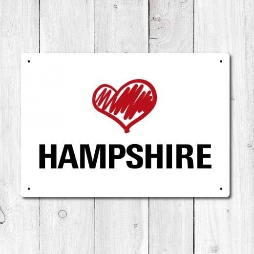 Wall Chimp Love Hampshire Metal Sign