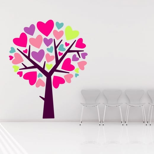Wall Chimp Love Heart Tree Printed Wall Sticker