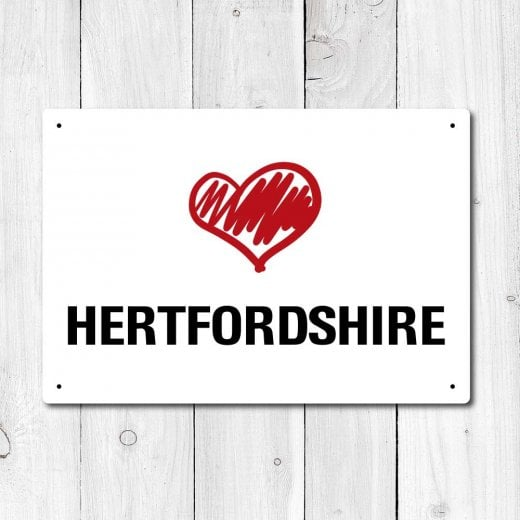 Wall Chimp Love Hertfordshire Metal Sign