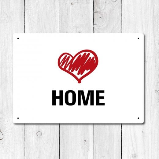 Wall Chimp Love Home Metal Sign