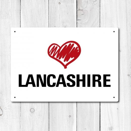 Wall Chimp Love Lancashire Metal Sign