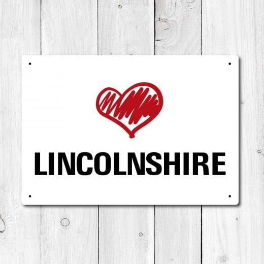 Wall Chimp Love Lincolnshire Metal Sign