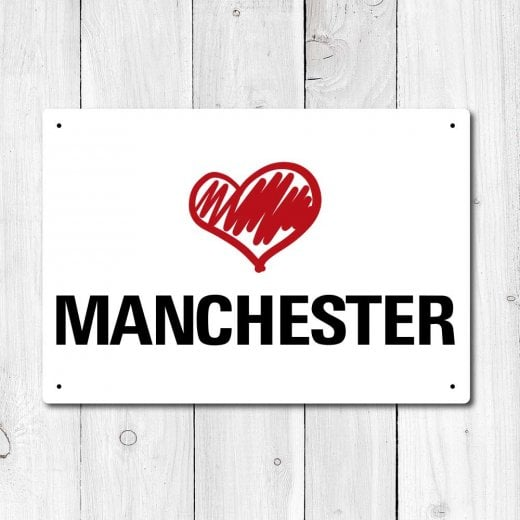 Wall Chimp Love Manchester Metal Sign
