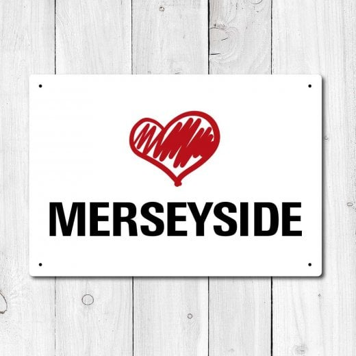 Wall Chimp Love Merseyside Metal Sign