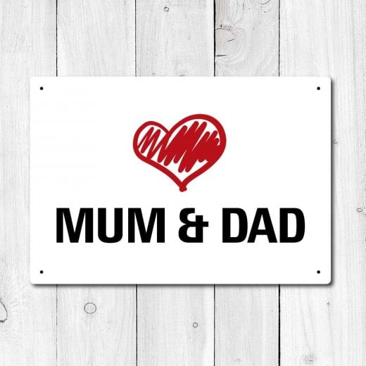 Wall Chimp Love Mum & Dad Metal Sign