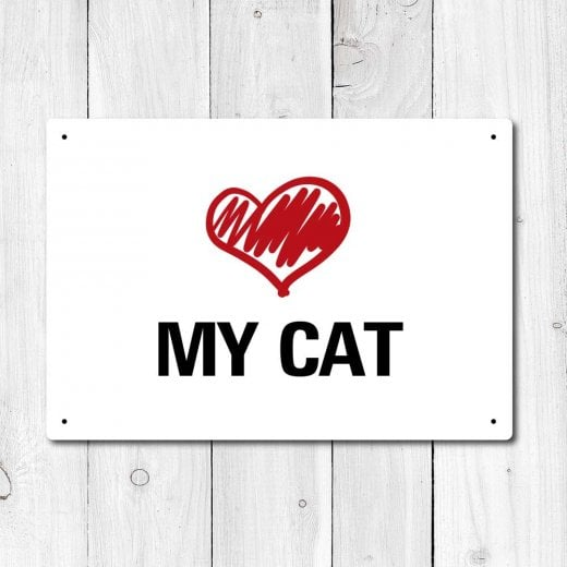 Wall Chimp Love My Cat Metal Sign