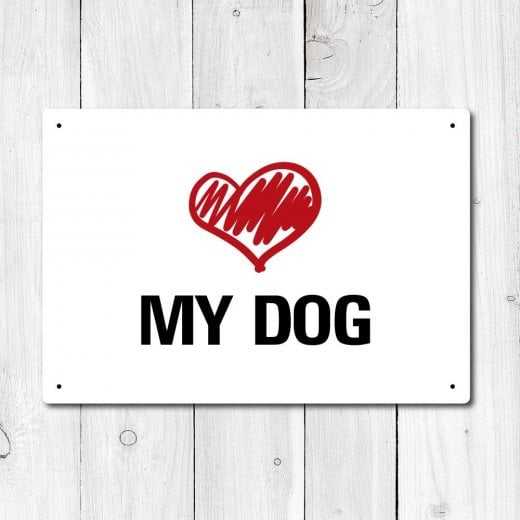 Wall Chimp Love My Dog Metal Sign