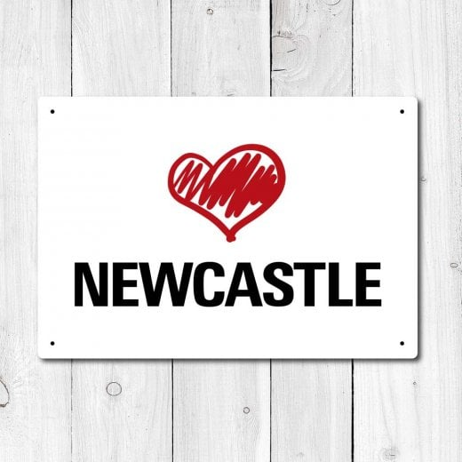 Wall Chimp Love Newcastle Metal Sign