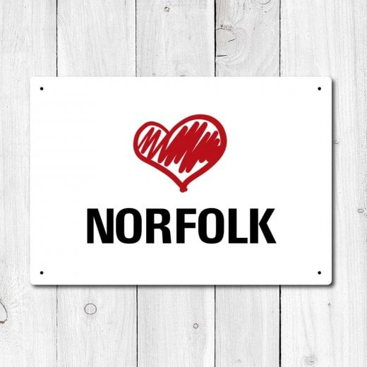 Wall Chimp Love Norfolk Metal Sign