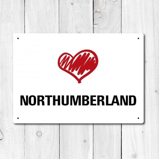 Wall Chimp Love Northumberland Metal Sign
