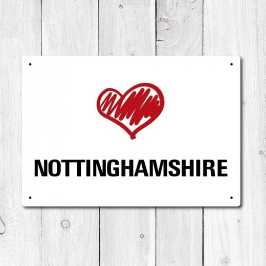 Wall Chimp Love Nottinghamshire Metal Sign