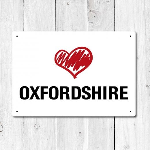 Wall Chimp Love Oxfordshire Metal Sign