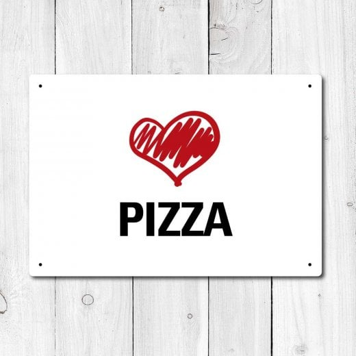 Wall Chimp Love Pizza Metal Sign