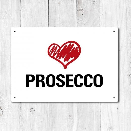 Wall Chimp Love Prosecco Metal Sign