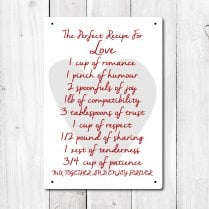 Love Recipe Metal Sign