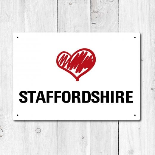 Wall Chimp Love Staffordshire Metal Sign