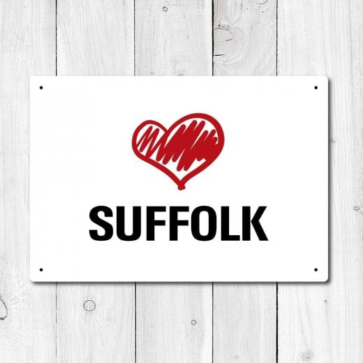 Wall Chimp Love Suffolk Metal Sign