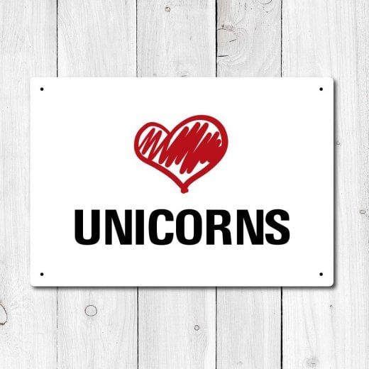 Wall Chimp Love Unicorns Metal Sign