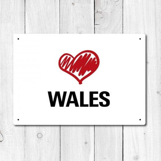 Wall Chimp Love Wales Metal Sign