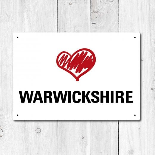Wall Chimp Love Warwickshire Metal Sign