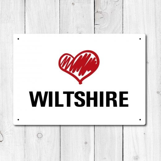 Wall Chimp Love Wiltshire Metal Sign