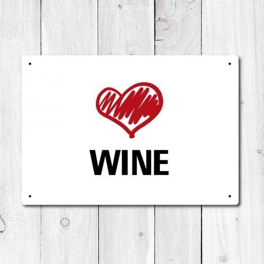Wall Chimp Love Wine Metal Sign