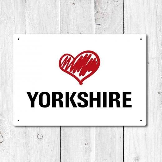 Wall Chimp Love Yorkshire Metal Sign