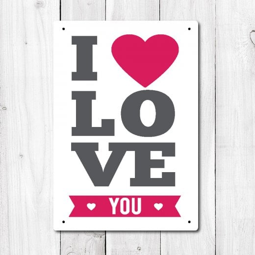 Wall Chimp Love You Metal Sign