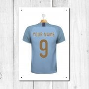 Manchester Blue Football Shirt Metal Sign With Your Name & Number - Custom Design