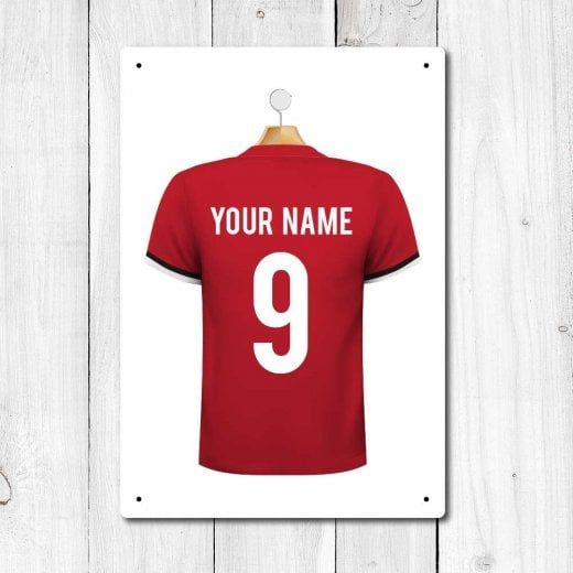 Wall Chimp Manchester Red Football Shirt Metal Sign With Your Name & Number - Custom Design