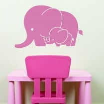 Mum And Baby Elephant Wall Sticker