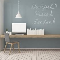 New York, Paris, London Wall Sticker