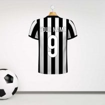 Newcastle Black & White Football Shirt Wall Sticker With Your Name & Number - Custom Design