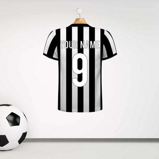 Wall chimp newcastle united style football shirt wall sticker with your name number custom