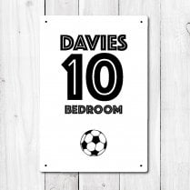 Personalised Bedroom Football Metal Sign With Your Name & Number