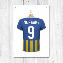 Personalised Blue & Amber Football Shirt Metal Sign With Your Name & Number