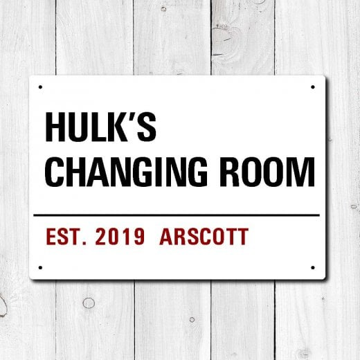 Wall Chimp Personalised 'Changing Room' Metal Sign