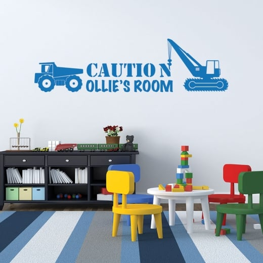 Wall Chimp Personalised Construction Boys Room Wall Sticker