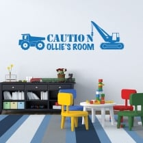 Personalised Construction Boys Room Wall Sticker