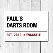 Personalised 'Darts Room' Metal Sign