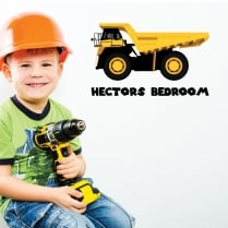 Personalised Dumper Truck Printed Wall Sticker