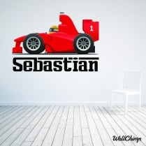 Personalised Ferrari Cartoon Car Wall Sticker